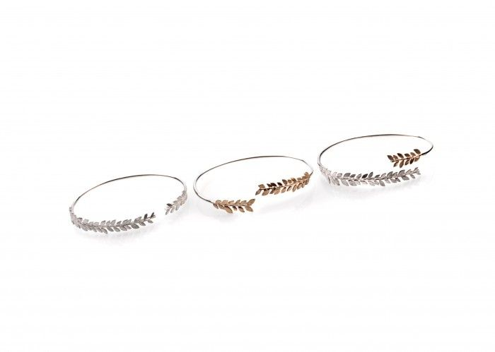 """Bangles, by Tasmanian artist Emily Snadden. """"As a jeweller I am driven by the process of design and manufacturing – my artistic practice evolves from a process of specimen collecting in the bush to photographing and sketching prior to creation. My work is a reflection of my personal connection to Tasmania and a love for the intricate and delicate details within our unique landscape and flora."""" Represented by Handmark Gallery"""