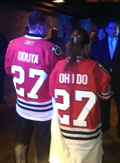 Genius. This reminds me of something I would do. Blackhawks incorporated wedding. Oduya?