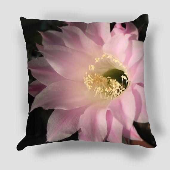 Cactus Flower Pillow  Cover, Nature photography, Flower Pillow, Floral Art, Floral Decor, Spring, Pastel Botanical Print