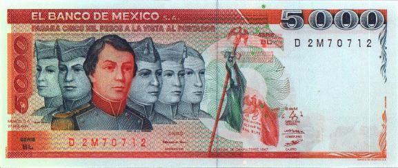 Billete de 5000 pesos, en el anverso los Niños Héroes, en reverso el Castillo de Chapultepec. Medidas : 155 x 67 mm - impreso del 25 de marzo de 1980 al 28 de marzo 1989. Más info en http://mgossart.free.fr