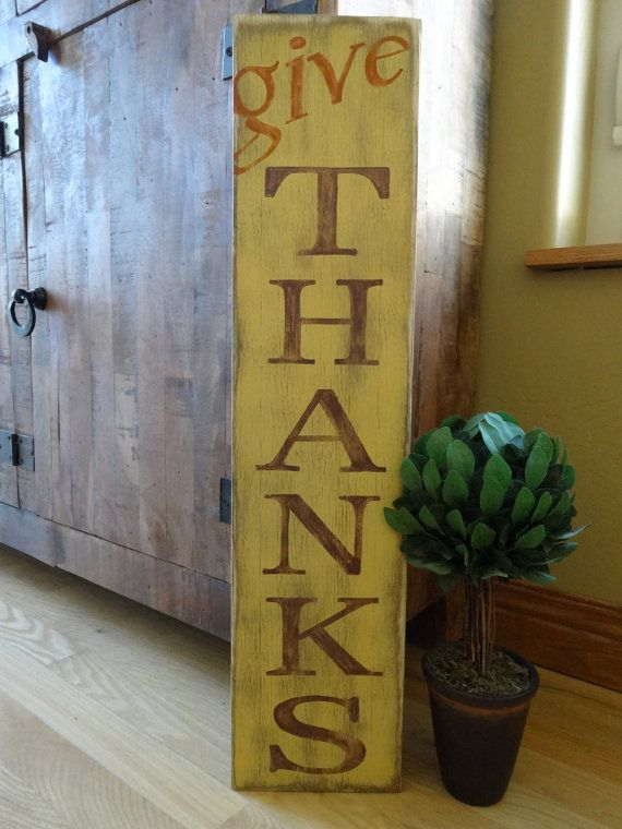 Give Thanks sign/ Hand painted wood sign/ by MyThoughtsExactly6