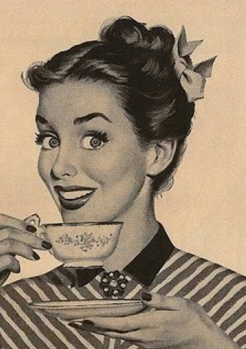 Image result for vintage woman with a coffee cup
