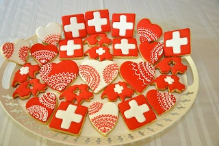 Inspiration: Swiss cookies (no recipe). Nice to serve on August 1st: Swiss National Day. The day is in honour of founding the Swiss Confederation in 1291. The confederation began with only 3 cantons and since has grown to 26 cantons.