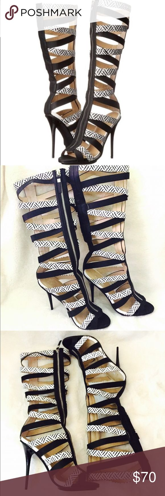 GX by Gwen Stefani Cut Out Zipper Boots These black and white  cut out and woven details heels from GX by Gwen Stefani are sexy, fun and flirtatious boots. The zipper and the open toe design is so fabulous. Has tiny minimal scuff on white leather but other than that these are in excellent used condition. GX by Gwen Stefani Shoes Heeled Boots