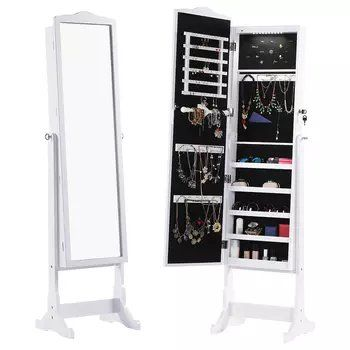 standing lockable full length mirrored jewelry armoire with led rh pinterest com