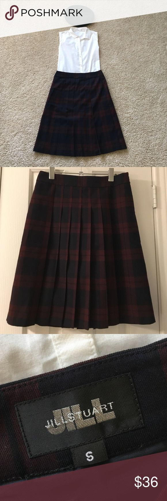 Tartan plaid pleated skirt Jill Stuart plaid pleated skirt. Worn once or twice, in excellent condition, nice material.Sad to let it go but it is a tad too big for me. :( Make me an offer! Jill Stuart Skirts Midi
