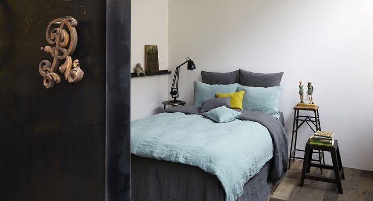 Collection linge de lit en lin merci drap 2 places gris for Drap housse lin