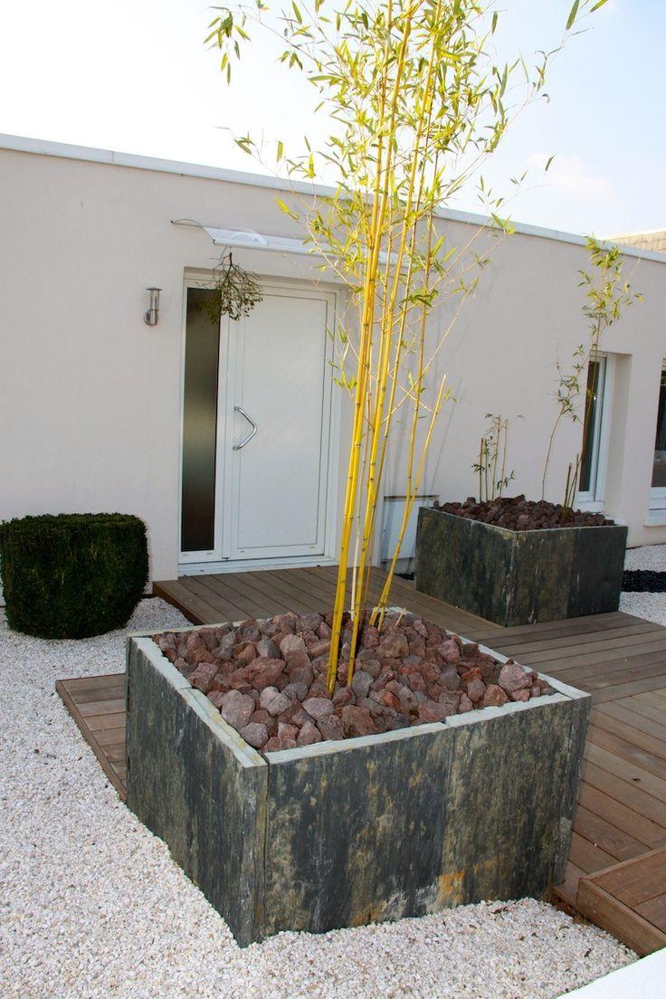 Jardinière en ardoise et bambous.| Arbor Minéral Vannes, Baden, Plougoumelen,  Morbihan