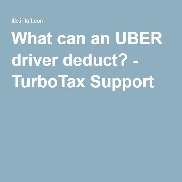 What can an UBER driver deduct? - TurboTax Support