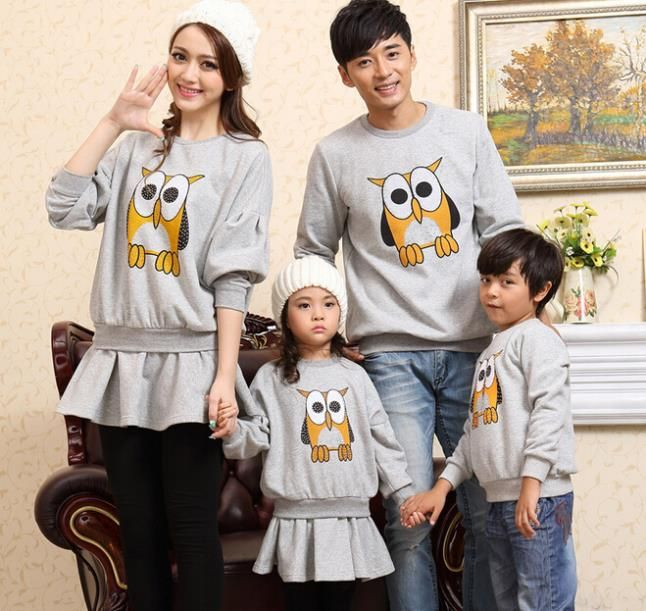 Owl Print Family Sweatshirt Clothes Boys/Girls/Women/Men Sweatshirts Clothes for Mother and Dauhghter Father and Son, CHH82G