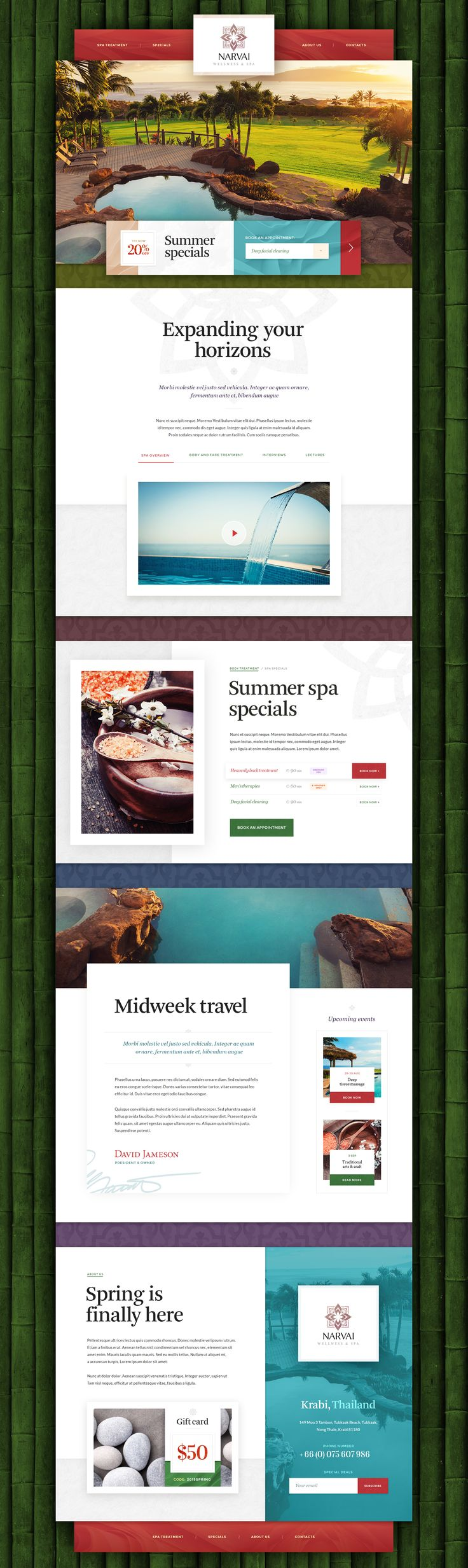 Spa website design and user interface concept. Delicate textures, powerful typography and strong photography. Mike | Creative Mints … is back!