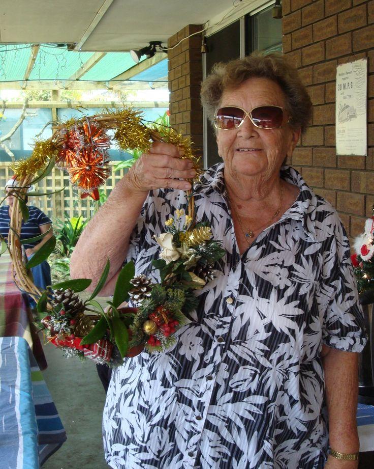 Elsie-May with her hoya Christmas wreath @169