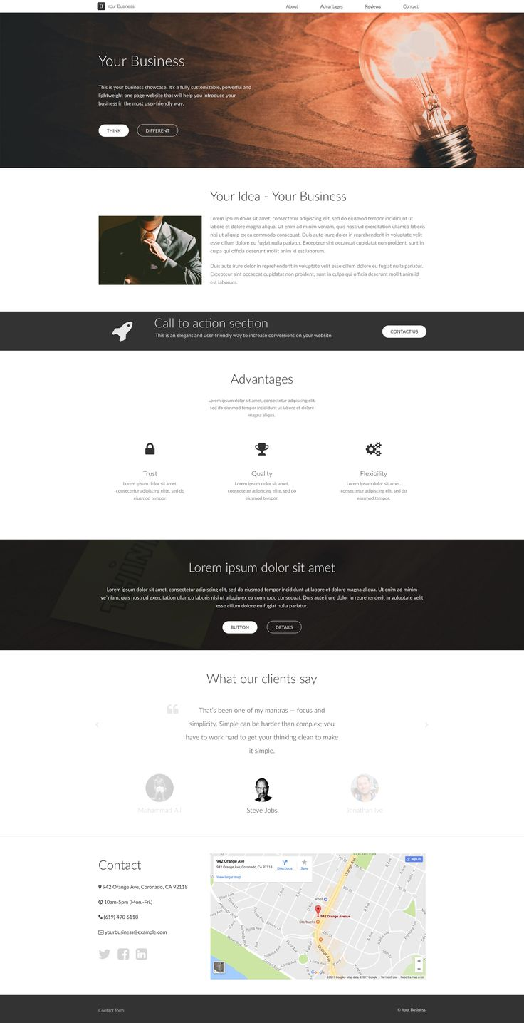 Your business is a free HTML5 one page website template which comes with two different color style. It will help you introduce your business in the most user-friendly way. Your business template is fully responsive and retina ready.
