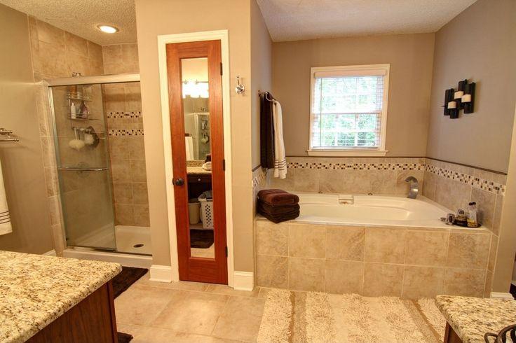 Craftsman Master Bathroom with Stone Source, Beige Safari, Porcelain Tile, Beige/Taupe, flush light, French doors