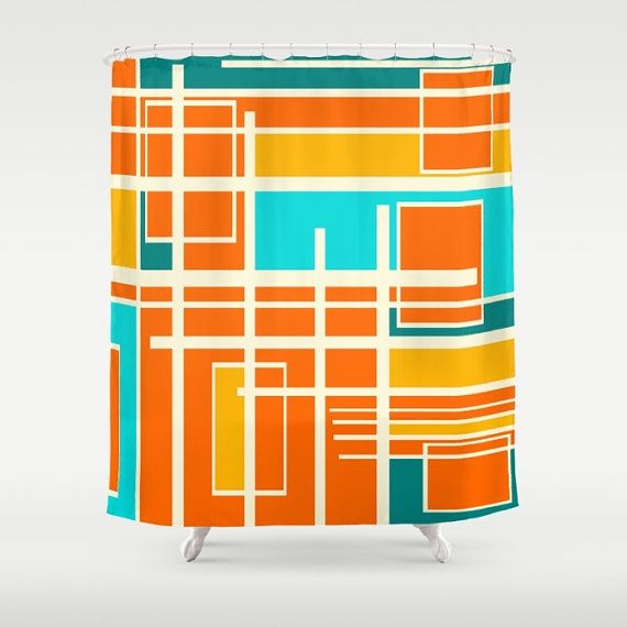 Orange Shower Curtain Modern Shower Curtain Mid By Crashpaddesigns