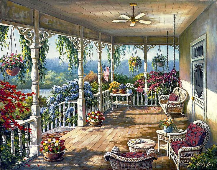 Completed.      Dixie's Veranda - Sure-Lox 1000pc puzzle - Sung Kim  (#40718-5c)