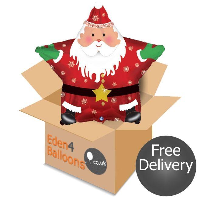 Christmas Star Santa Balloon in a Box