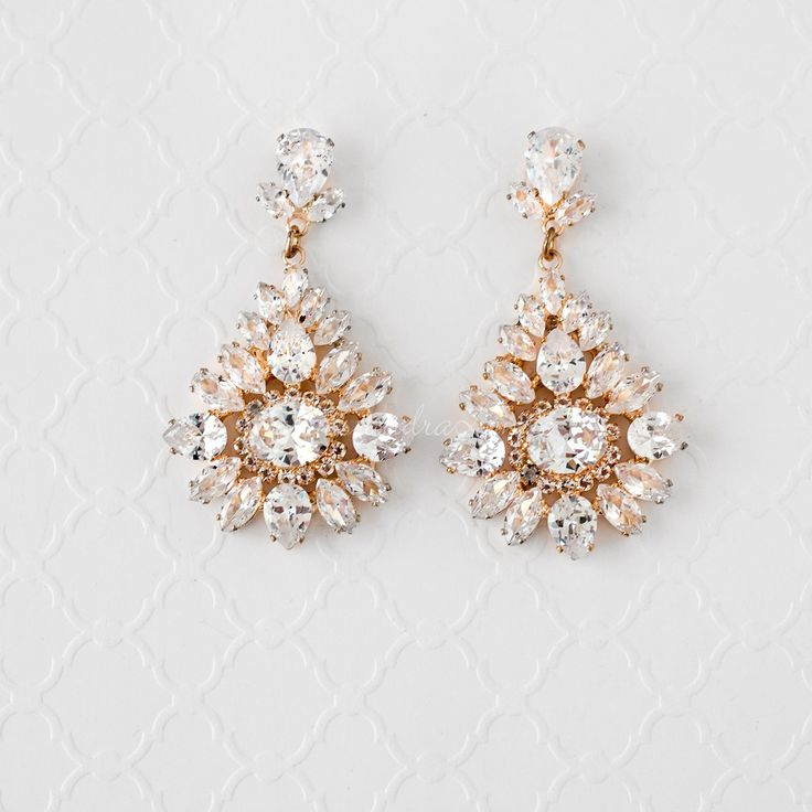 Vintage Bridal Earrings with Cubic Zirconia Gold