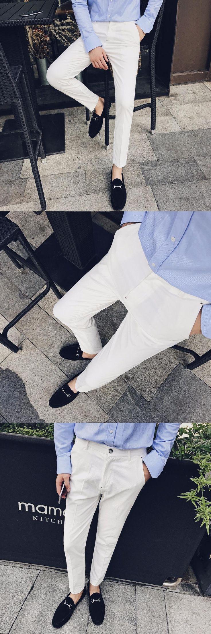 White Trousers Mens Calca Social Slim Fit Suits Pants Wedding Dress 2017 Pantalones Hombre Mens Fashion Casual White Pants Men