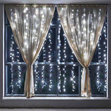 WolfWise Guirlandes Lumineuses 300 LED Décoration Rideau de Lumière Fenêtre 10 Chaînes 3m 8 modes Extérieur / Intérieur pour Noël / Mariage / Festival / Cérémonie avec Fonction de Mémoire - Blanche Pure