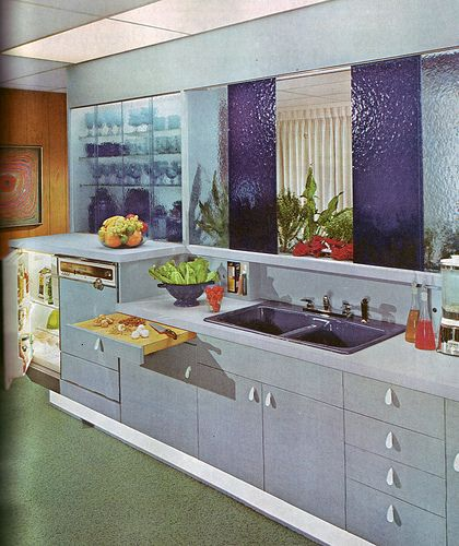 Blue Kitchen - Good Decorating and Home Improvement Published in 1970.  I really like those panels above the sink!