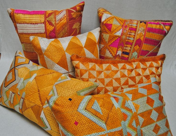 Beautiful custom pillows made from vintage hand embroidered Phulkari Bagh wedding shawls from Punjab, India. Maison Suzanne Gallery