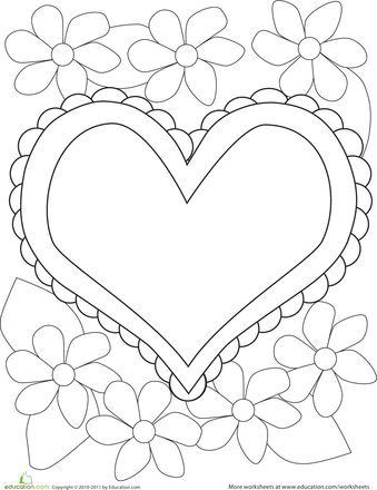 Color the Heart & Flowers