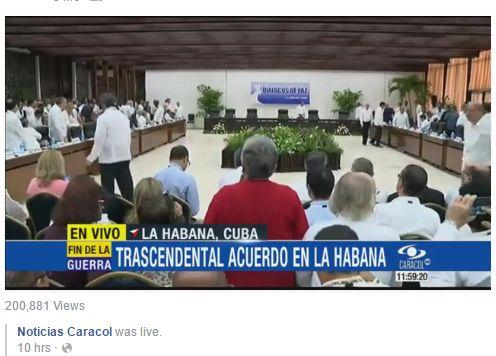 Siga en vivo el trascendental acuerdo en La Habana. Más detalles en http://pazencolombia.noticias.caracoltv.com/  #ElFinDeLaGuerra
