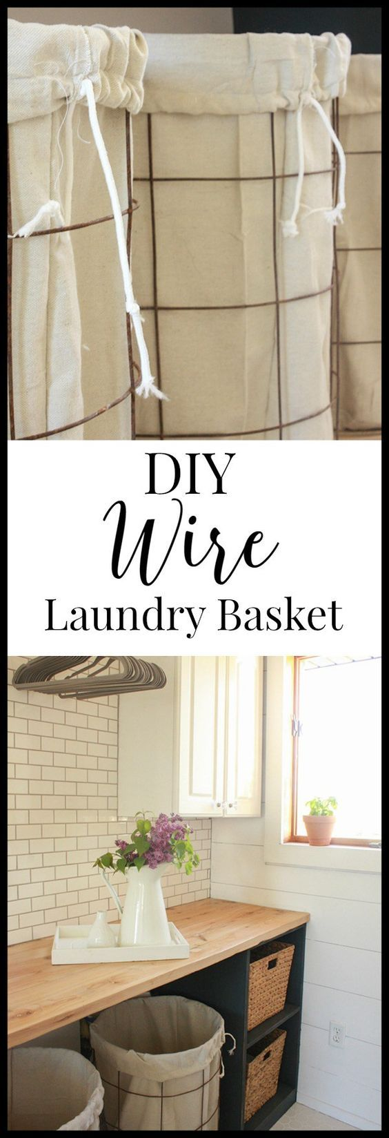 DIY wire laundry baskets with drop cloth liners. These were made in one afternoon and cost less than 40 dollars!   Twleveonmain.com