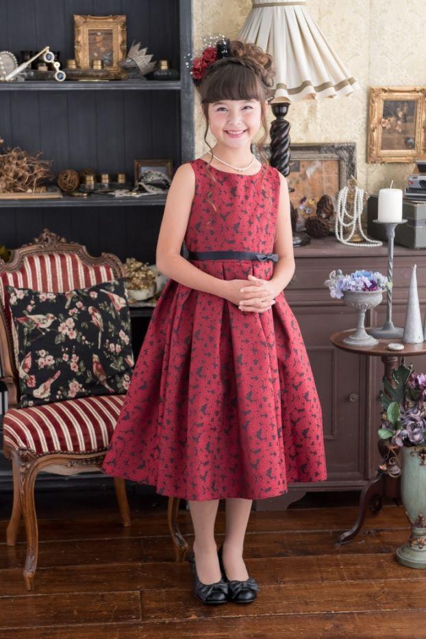 子供ドレス ピアノ発表会ドレス 3-354(150cm)レッド