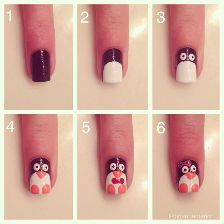 How to: penguin nails DIY christmas | Nails | Pinterest ...