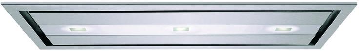 HOTTE PLAFOND KEICD 12030 Aspiration périmétrale Débit d'air : 400 m3/h (min) – 1 140 m3/h (max) 1 310 m3/h (vitesse intensive) Evacuation ou recyclage Niveau sonore : de 55 dB à 67 dB Pression sortie d'air : 446 Pa 3 vitesses + 1 intensive Type d'éclairage : 1 Halogène Filtres à graisses métalliques permanents, lavables au lave-vaisselle Contrôle électronique par télécommande Classe A Finition en Inox EasyClean antitrace Taille : 120 cm PPI : 5 660 €