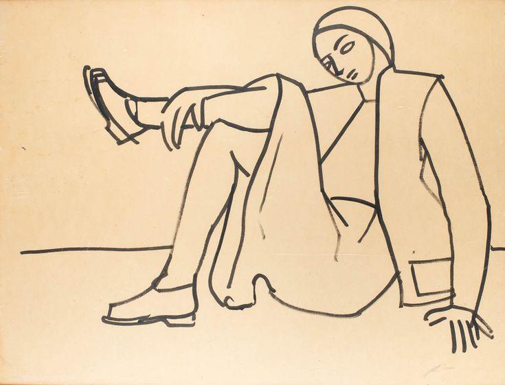 ROMAN OPAŁKA (1931 - 2011)  AKT KOBIETY   technika mieszana, papier, tektura / 95 x 125 cm