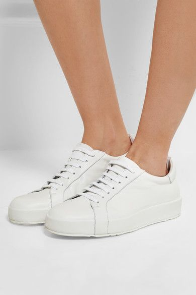 Rubber sole measures approximately 25mm/ 1 inch White leather Lace-up front Made in Italy