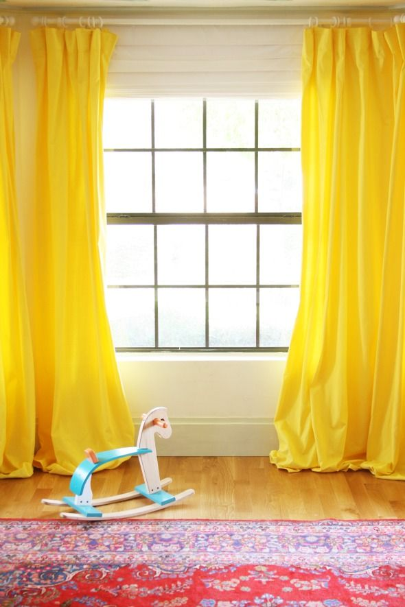 DIY Yellow Curtains for the Playroom - Little Green Notebook
