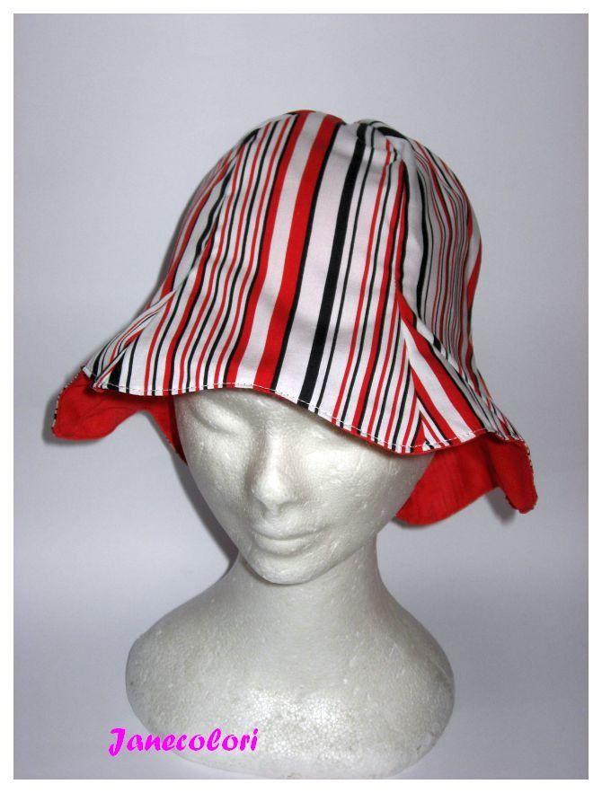 cappello estivo da sole, a campana, reversibile, rosso bianco, sun hat red and blue, chapeaux soleil : Cappelli, berretti di janecolori-accessoires