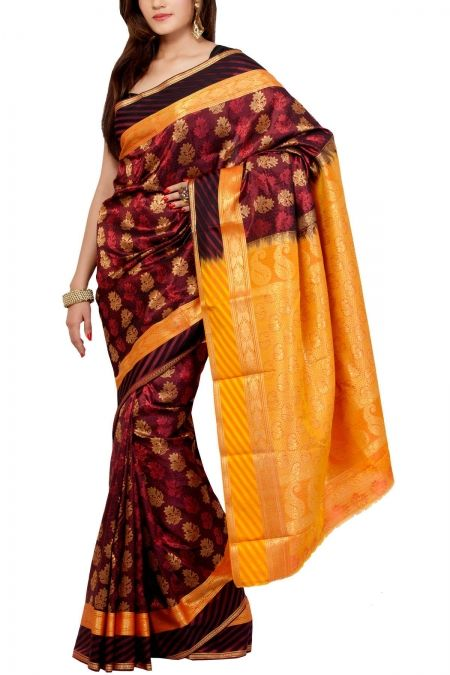 Maroon & Gold Brocade Art Silk Saree