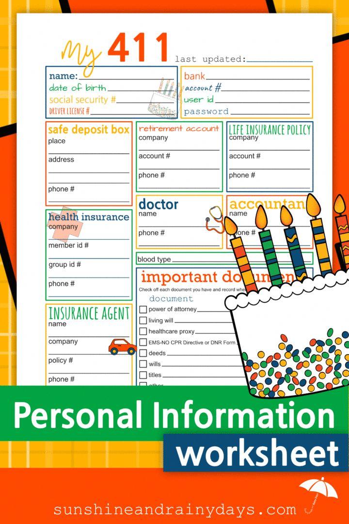 Personal Information Worksheet Pdf Medical Health Insurance