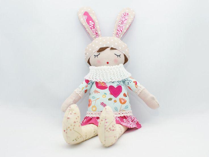 "Rosa - Rag doll, Soft doll, Sleepy doll, Handmade doll 18"" by PatchworkModa on Etsy"