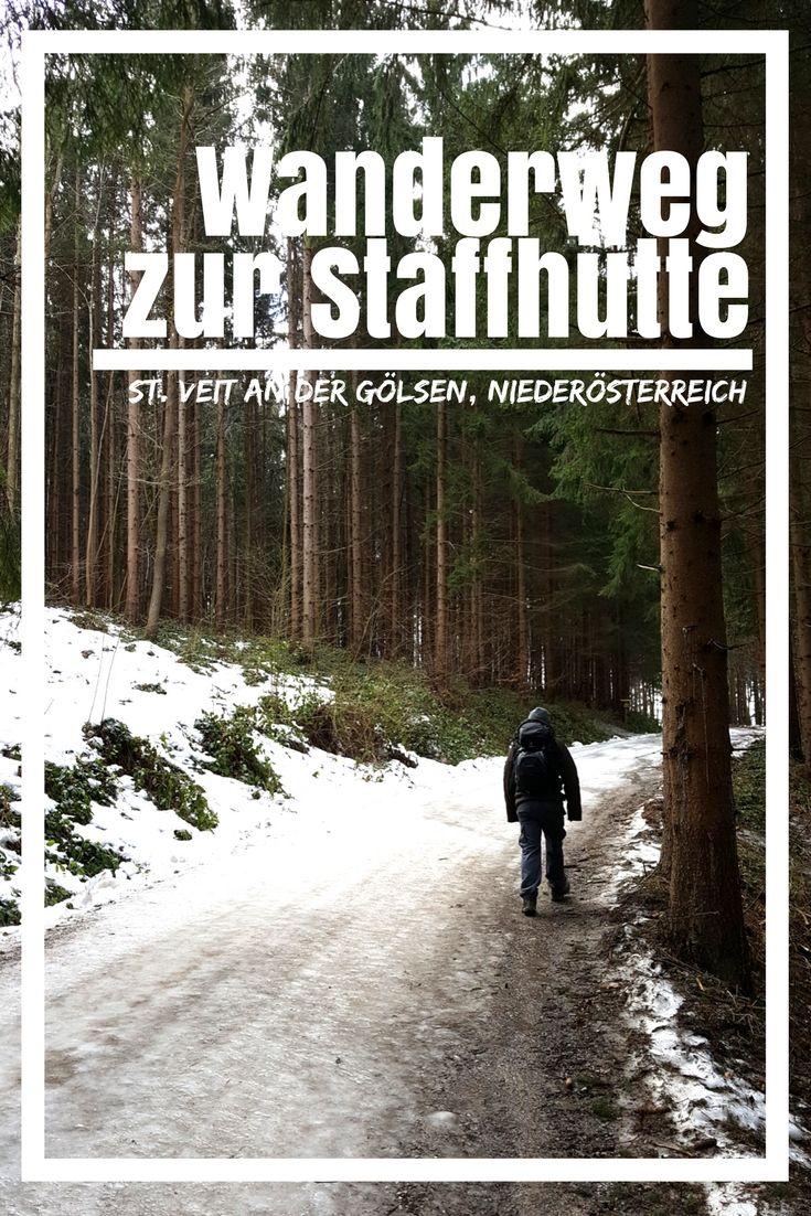 Wanderweg zur Staffhütte: Auf dem Staffweg in Niederösterreich kann man einen gemütlichen Sonntagswanderweg gehen. Ausgangspunkt ist St. Veit an der Gölsen im Gölsental.  Wandern, Wandern Österreich, Berg, Wald, Natur, Wanderwege Österreich, Kleidung, Panorama, Foto, Schnee, Winter, Einfacher Wanderweg