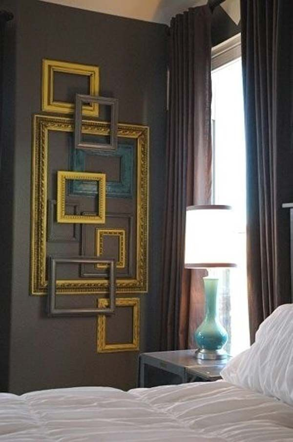 DIY Wall Art Out of Empty Picture Frames .....DIY Ideas To Brilliantly Reuse Old Picture Frames Into Home Decor. Very Creative! #ReuseofOldpictureframes #DIYrecyclepictureframes