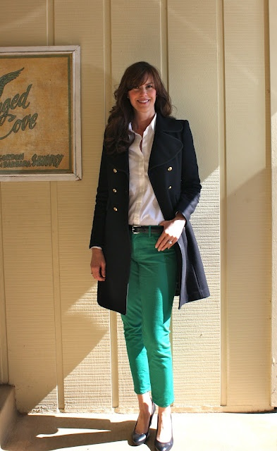 Green jeans + Navy coat