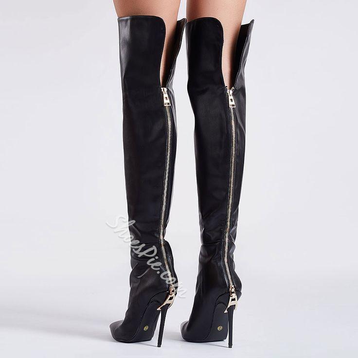 Shoespie Black Back Zipper Knee High Boots