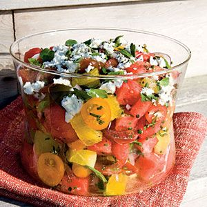 Watermelon, tomato, and feta salad.