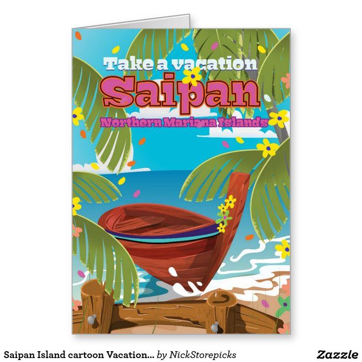 Saipan Island cartoon Vacation poster print. Greeting Card ...