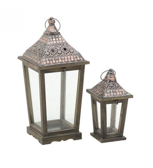 S_2 METALLIC_WOODEN LANTERN IN COPPER COLOR 23X23X50