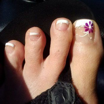 French pedicure with flower design, first time visit, really happy! | Yelp