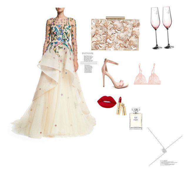 """TB Dress"" by aylin-arma ❤ liked on Polyvore featuring Monique Lhuillier, Phase Eight, Lime Crime, Chanel, Royal Albert, La Perla and tbdress"
