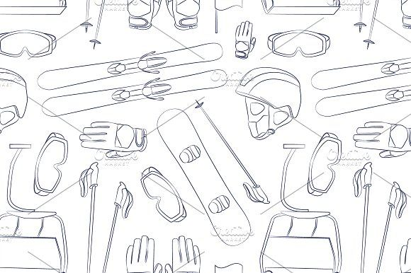 Ski and Snowboard equipment pattern by Netkoff on @creativemarket
