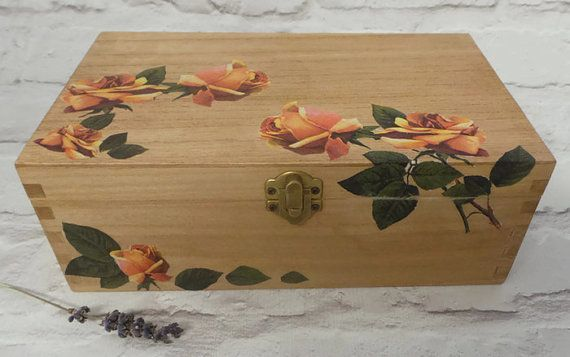 Floral Jewelry Box Gift Box Stained Wood Box by SCWVintage on Etsy